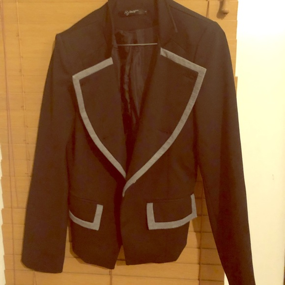 r.j story fashion Jackets & Blazers - Black and gray buttoned blazer for ladies size L